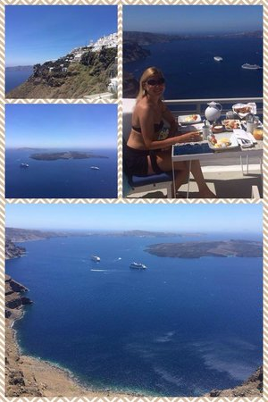 Iconic Santorini, a boutique cave hotel: Breakfast on a private terrace (deluxe room) with caldera view