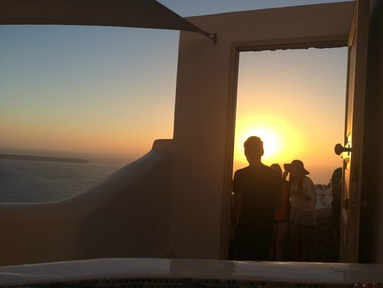 Art Maisons Luxury Santorini Hotels Aspaki & Oia Castle: We made friends with the sunset viewers outside our room. :)