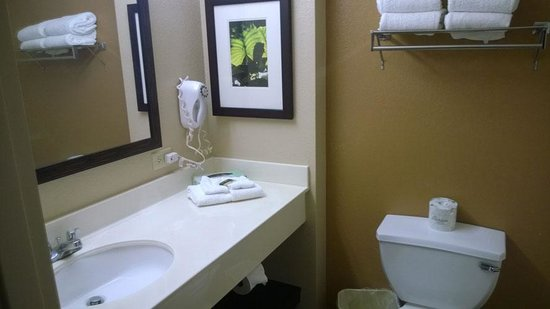 Extended Stay America - Orange County - John Wayne Airport : The bathroom had enough room for one at the vanity which included a hair dryer.  If you use bar