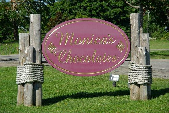 Monica's Chocolates - Street sign