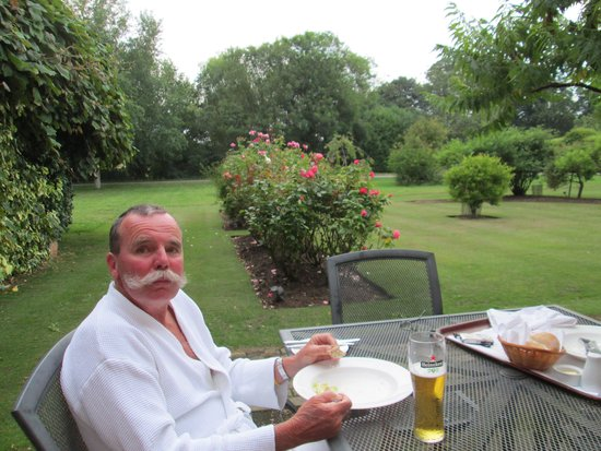 Hintlesham Hall: Husband enjoying dinner in the garden