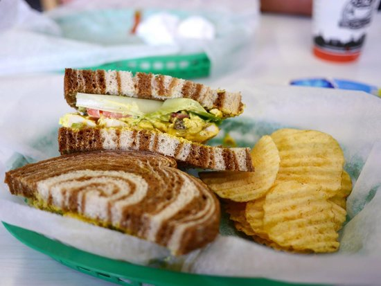 Isabella's Cafe And Bakery : Curried Chicken Salad on Marbled Rye