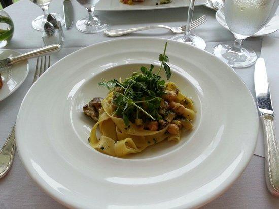 Fossett's: Sharondale Pappardelle, oyster mushrooms, curry bechamel, summer legumes, tendrils