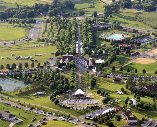 Arcadia, WI: Arial View of Soldier's Walk Memorial Park