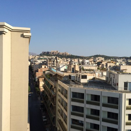 Crystal City Hotel: Uitzicht vanaf dakterras op Akropolis