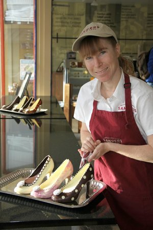 Sander's: Amy making her chocolate shoes