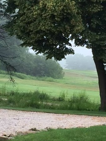 1802 House Bed and Breakfast: View from the room on to the golf course with Morning Fog