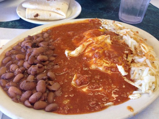 Oasis Restaurant: Huevos Rancheros with Red Chile.