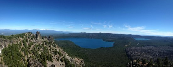 Wanderlust Tours: Panorama from Paulina Peak with view of Paulina Lake, East Lake and the Obsidian Lava Flow.