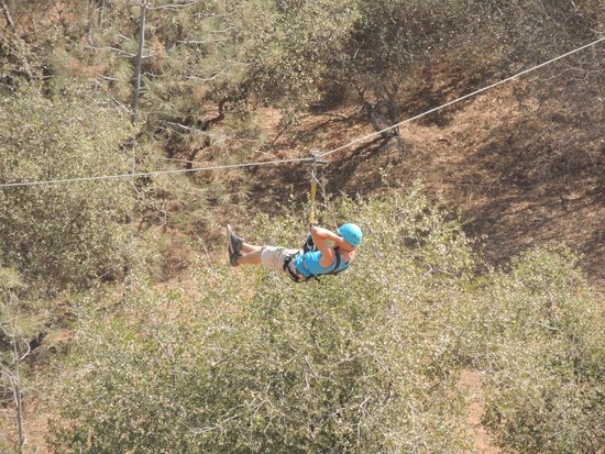Yosemite Ziplines and Adventure Ranch: My brother showing off!