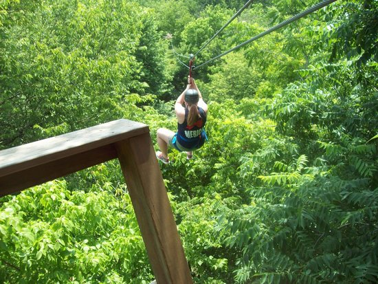 Eagle Falls Ranch Zipline Adventures: The first to go from the first tower