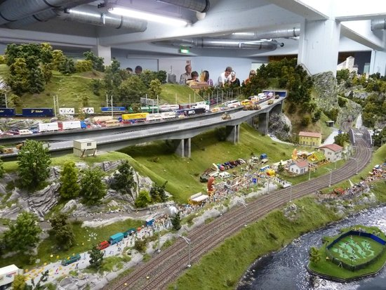 "Miniatur Wunderland: Traffic jam in ""Switzerland""."