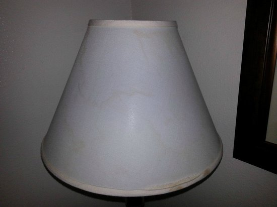 Motel 6 Clackamas: Lampshade with stains and frayed trim