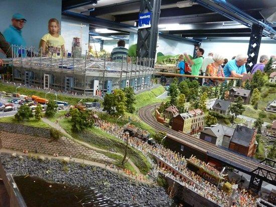 Miniatur Wunderland: Hamburg city with stadium.
