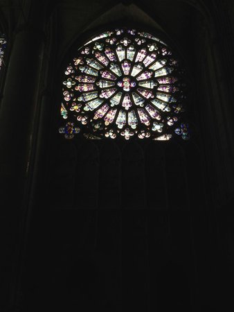 Carcassonne Medieval City: the rose window in the cathedral