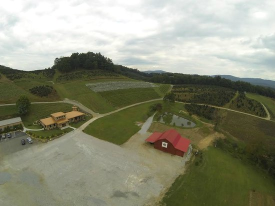 Aerial view of Linville Falls Winery