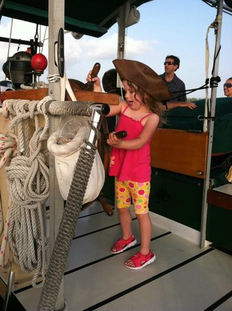 Schooner Jolly II Rover : Getting a Chance to Steer the Ship-Future Captain!