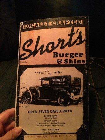 Shorts Burger & Shine : menu cover