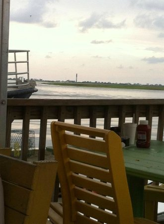 Fishy Fishy Cafe: View from dinner at Fishy Fishy... Oak Island lighthouse
