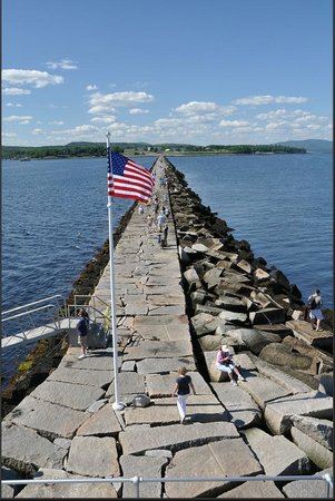 Rockland Breakwater Light: The view towards land of the 7/8 mile walk on the stone jetty.