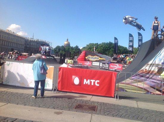 Palace Square (Dvortsovaya Ploshchad): BMX Stunts
