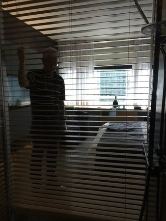 Hotel Le Germain Toronto: See through shower with blinds open