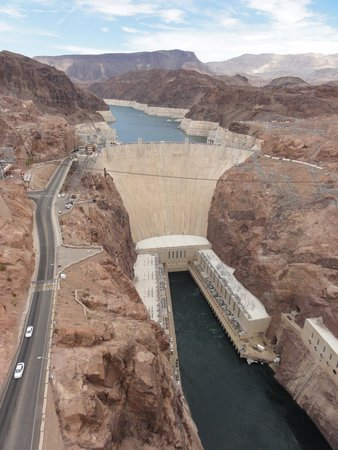 Mike O'Callaghan-Pat Tillman Memorial Bridge: View of Hoover Dam from the Bridge