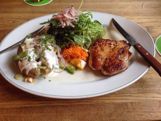 Die Weisse: Pork steak with baked potato and salad. Lekker!