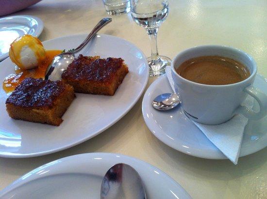 Mani Mani: The orange pie and espresso.