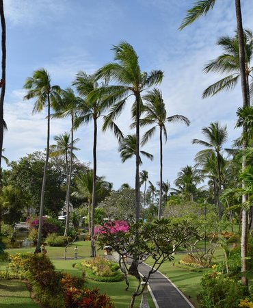 Melia Bali Indonesia: hotel grounds looking towards pool, beach beyond pool