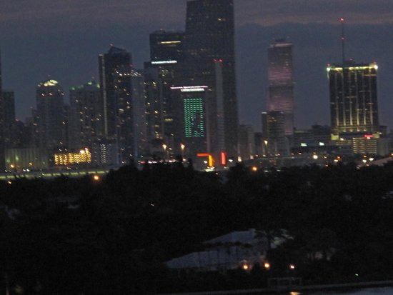 Mondrian South Beach Hotel: View of Downtown Miami at night from room