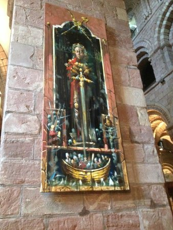 Saint Magnus Cathedral: New Painting of St Magnus, hanging opposite tomb