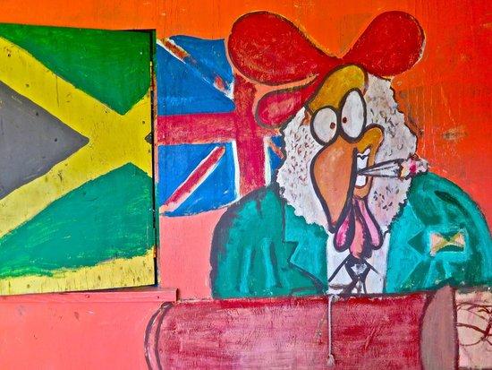 Murphy's West End Restaurant: Jerk Chicken with a spliff - painting in progress :)