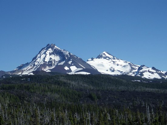 Dee Wright Observatory: Two of the Three Sisters: North to the left and Middle on the right.