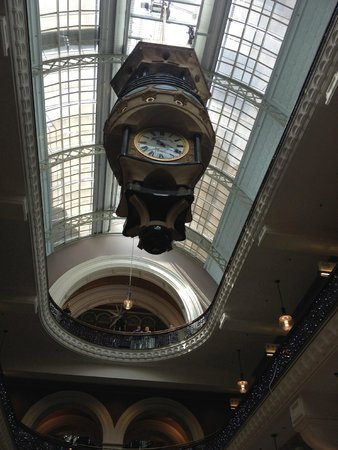 Queen Victoria Building (QVB): Gorgeous window panels in the roof and ornate clock