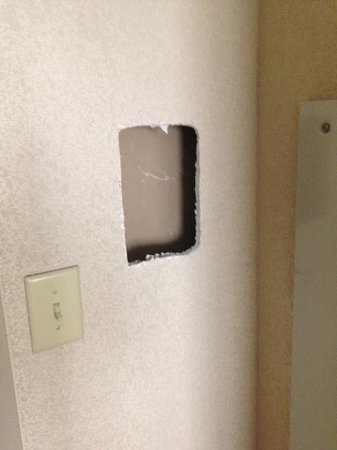 Embassy Suites by Hilton Atlanta Alpharetta: Hole cut in the wall