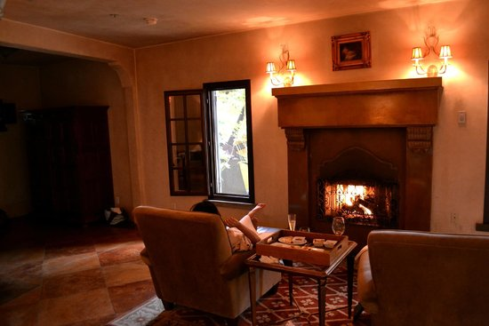 Kenwood Inn and Spa, A Four Sisters Inn: Room 19 - Fireplace and view of water wheel.