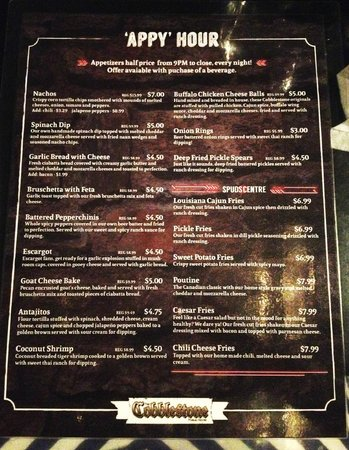 The Cobblestone Public House: Appy menu