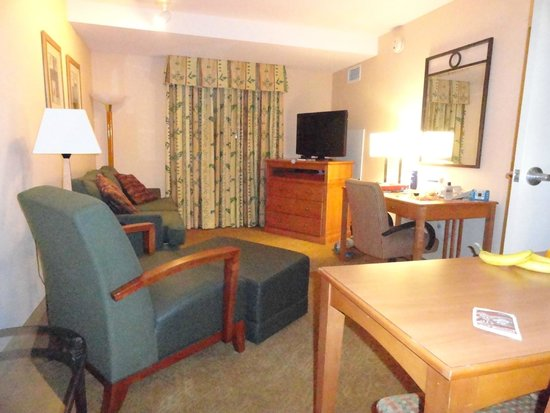 Homewood Suites by Hilton San Francisco Airport-North : 2 rm suite.  At front door looking into the living room (kitchen to the right).