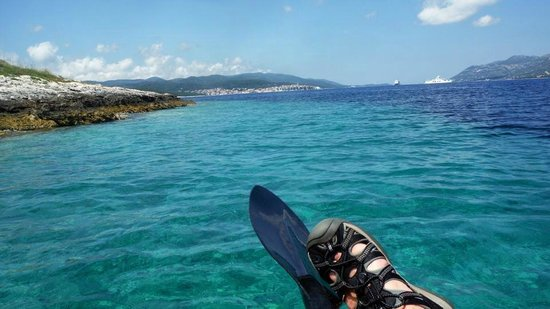 Oreb Club Sailing & Windsurfing School Center : View from Kayak - looking back at the town of Korcula