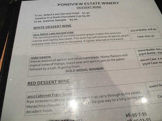 Pondview Estate Winery : Wine descriptions