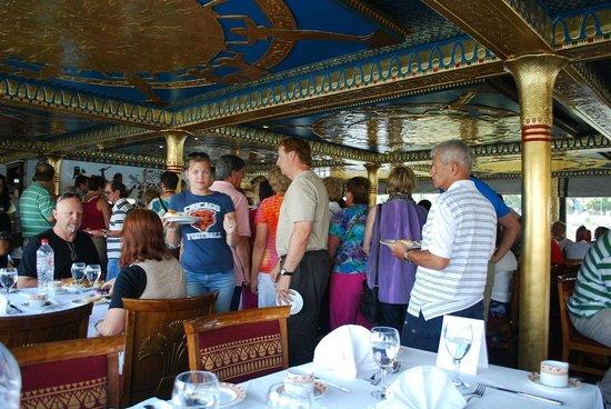 Nile Pharaohs Cruising Restaurant : Inside & buffet line.