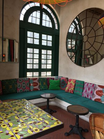 Pod 39 Hotel: Mexican styled seating area inside near roof top bar