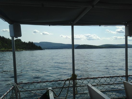 Diver Ed's Dive-In Theater: The view from the ship towards Bar Harbor and Cadillac
