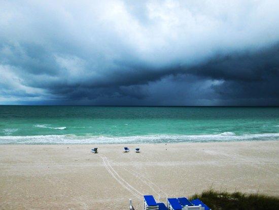 Mainsail Beach Inn: Rain storm over the ocean 5/15/14