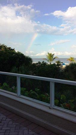 Marco Beach Ocean Resort: Beautiful rainbow as we ate breakfast