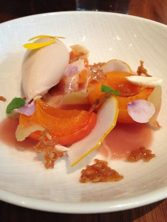confit apricot ginger meadowsweet flower ice cream picture of