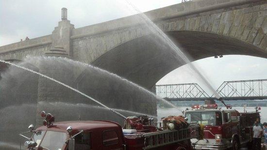 Downtown Harrisburg: Fire trucks releasing water into the Susquehanna