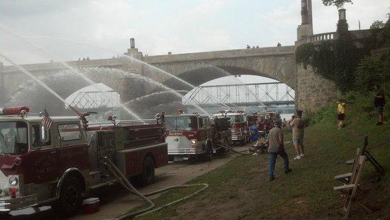 Downtown Harrisburg: Fire trucks lined up along the Susquehanna River