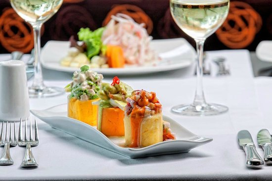 "Foresta Hotel Lima: ""Causa"" trio from the three Peruvian regions Restaurant Terrace Aguaymanto"